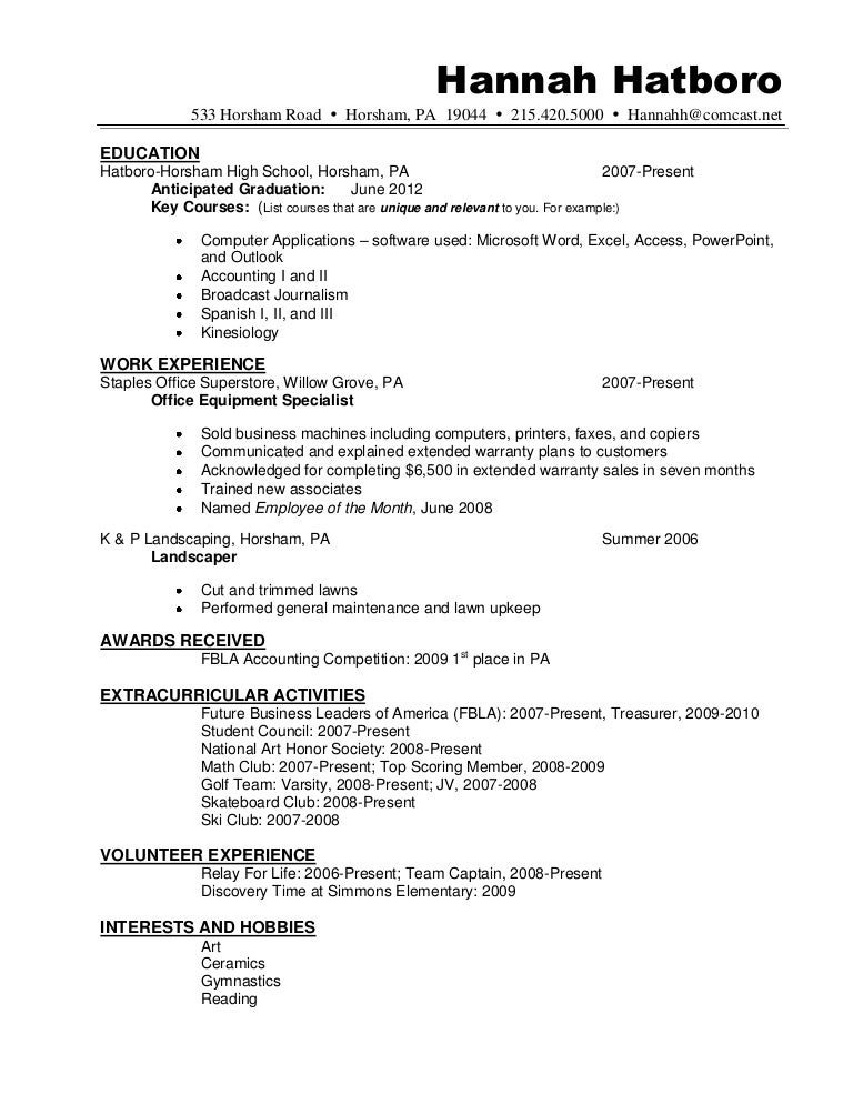 resume sample hannah hatboro 0411
