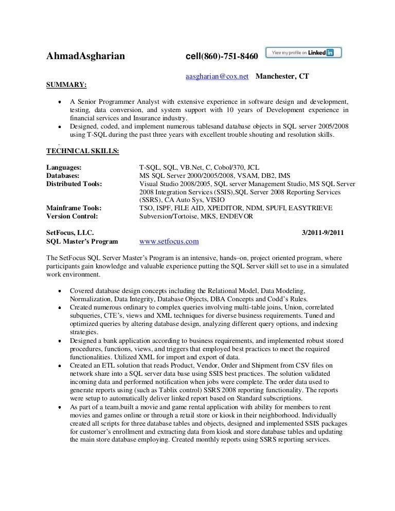 Resume Sql Texas  Sql Resume