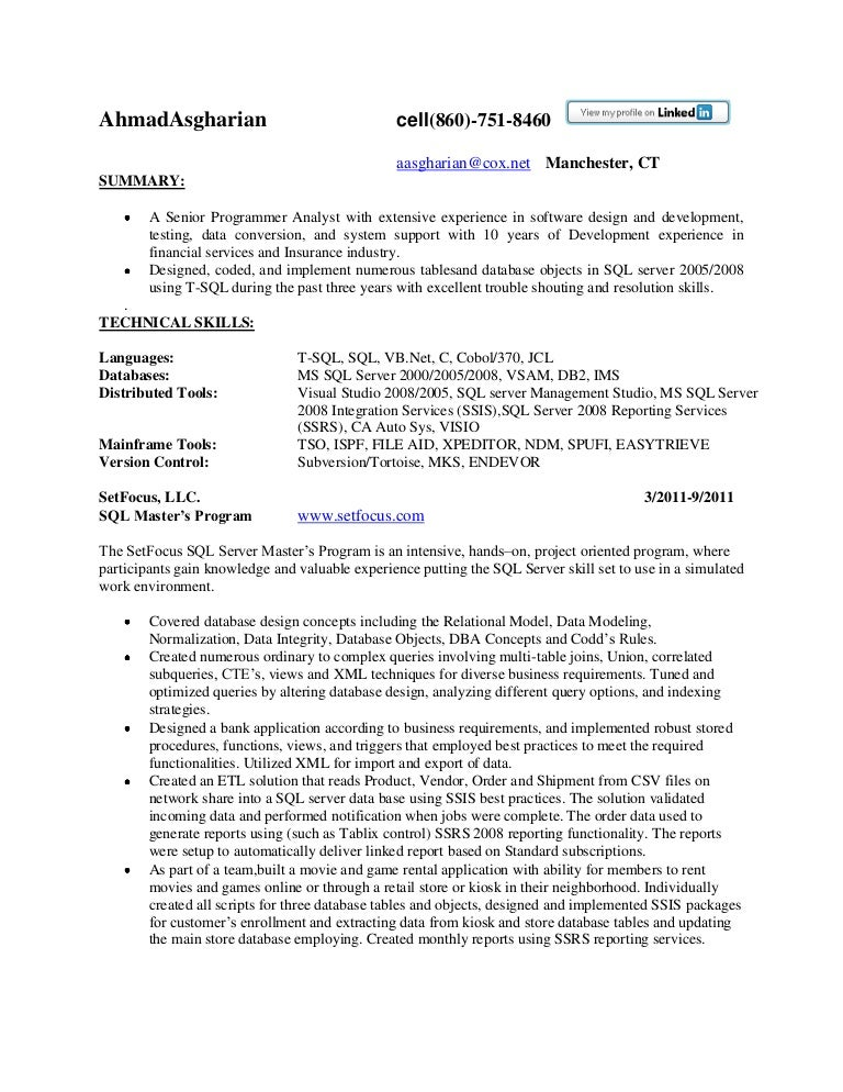 resume sql server developer