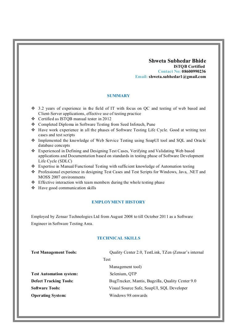 resume shweta subhedar bhide - Certified Software Quality Engineer Sample Resume