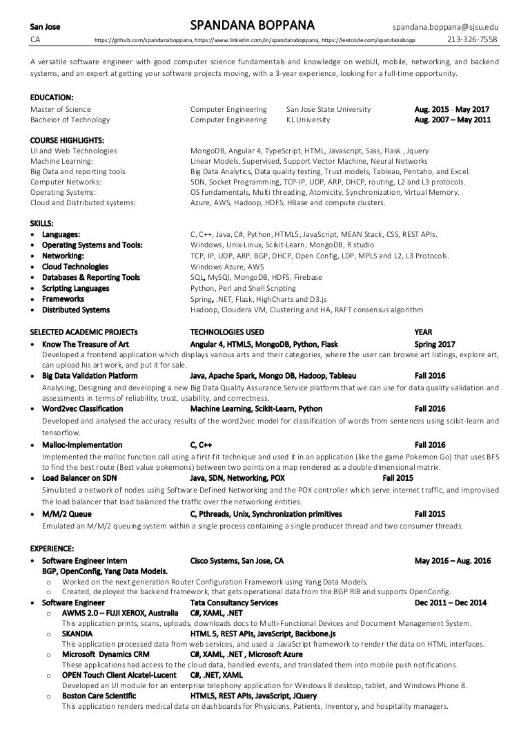 Resume Spandana Boppana