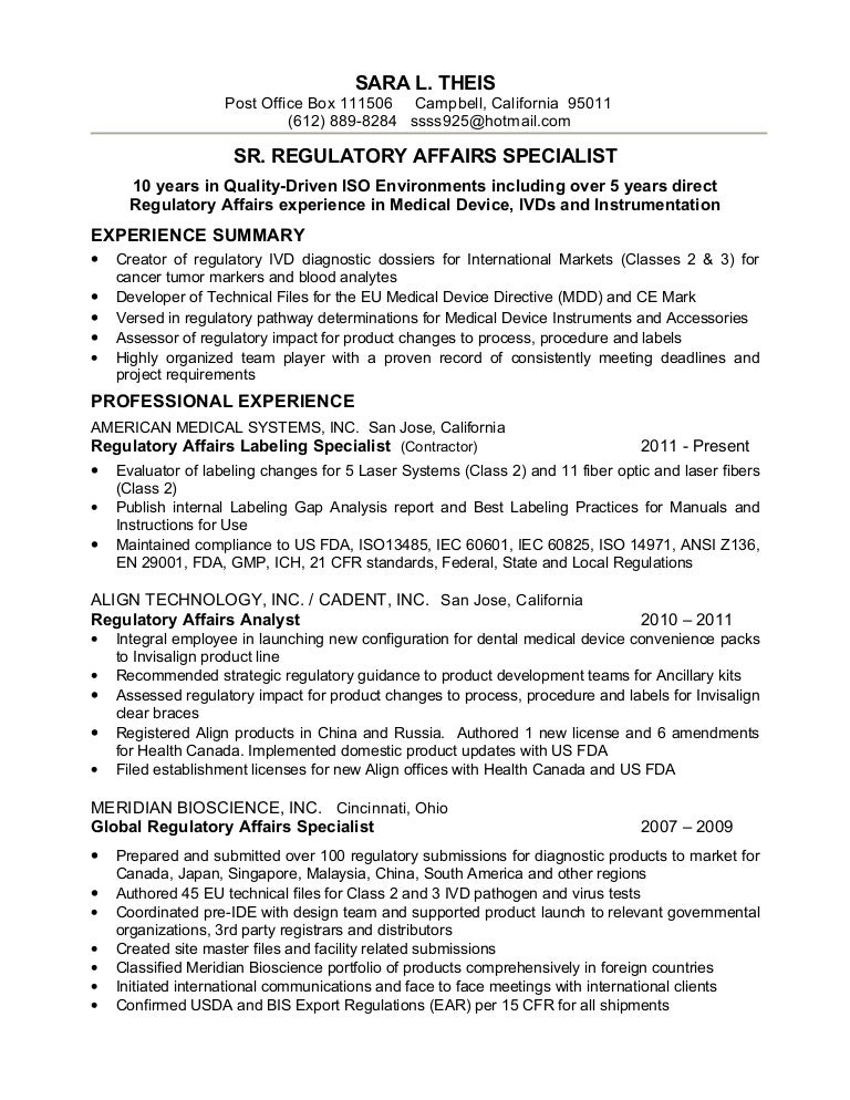 regulatory affairs specialist resume sample