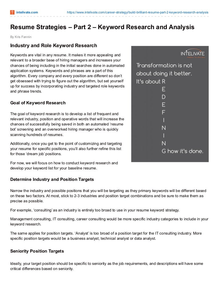 powerful resume strategies to land the interview part 2 keyword r