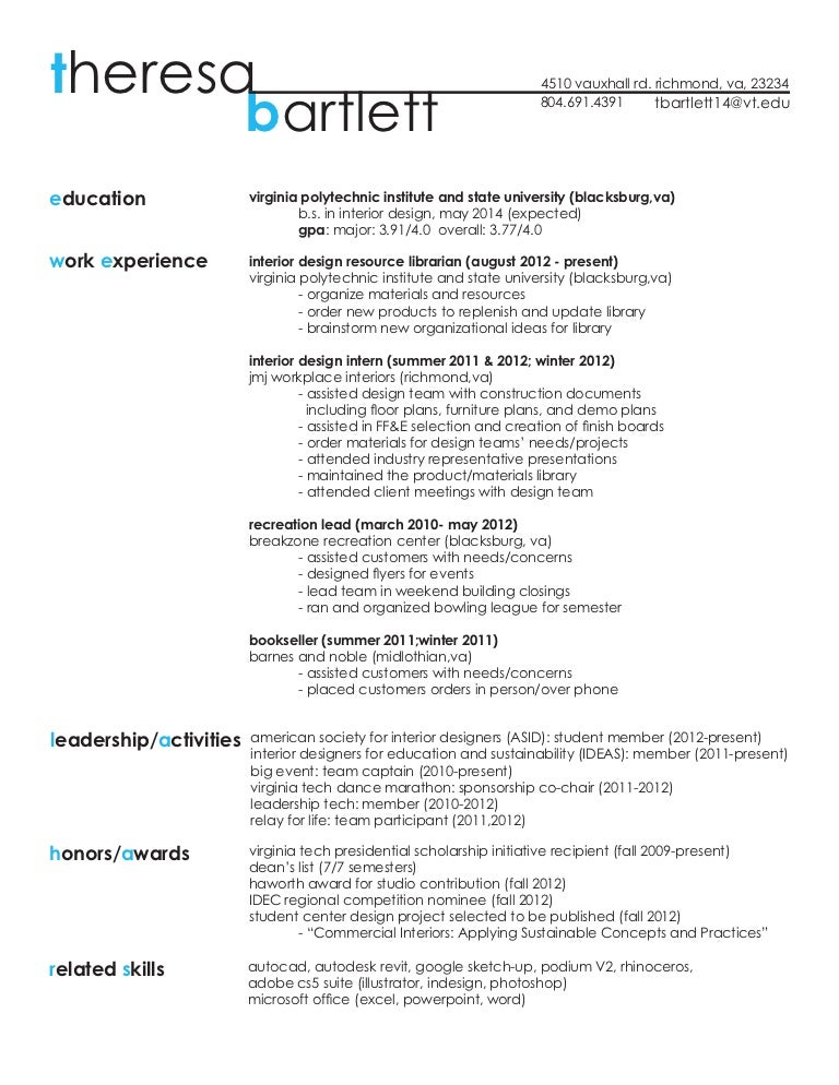 interior design resume examples assistant interior design intern