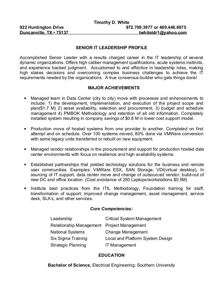 resume timothy white it leader