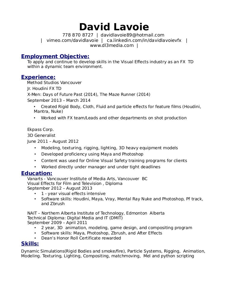 resume examples visual effects artist