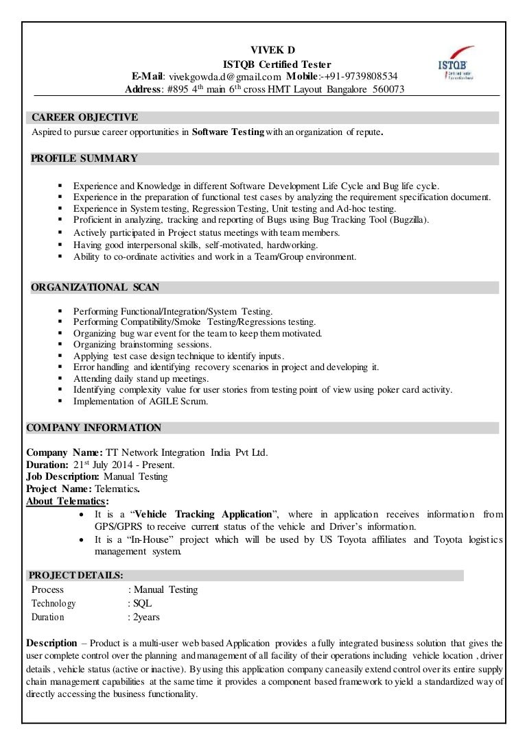Resume vivek istqb certified 1betcityfo Image collections