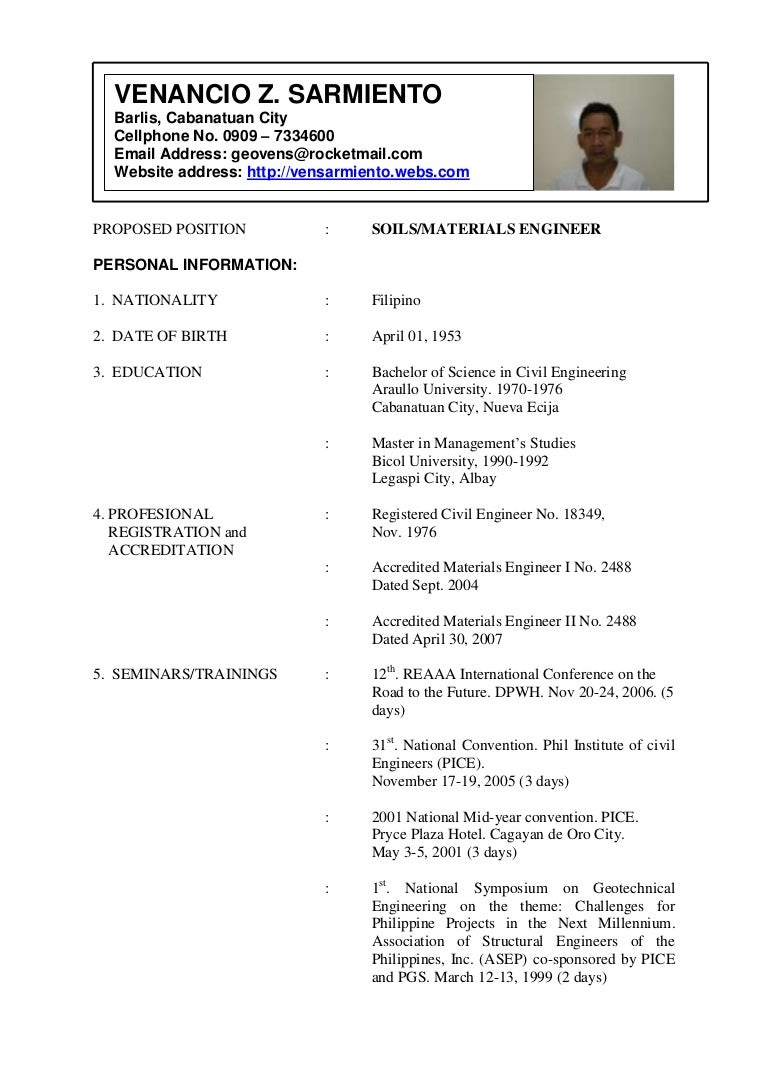 Resume Sample For Engineers Philippines Resume Ixiplay Free Resume