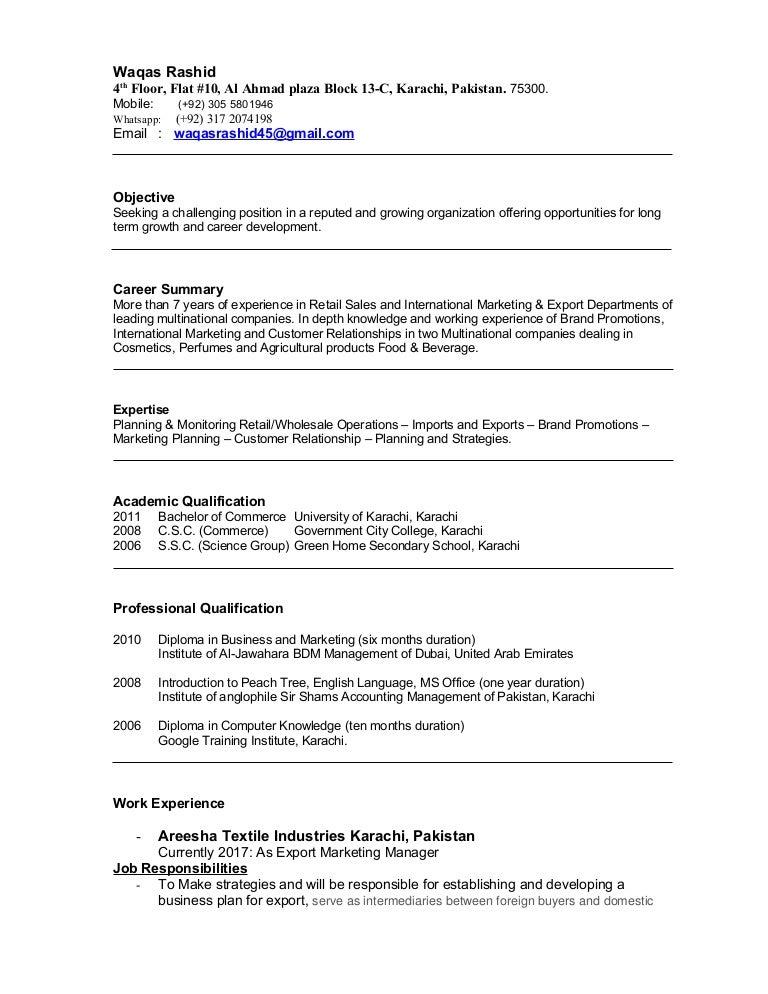 Resume waqas 20 may-2017