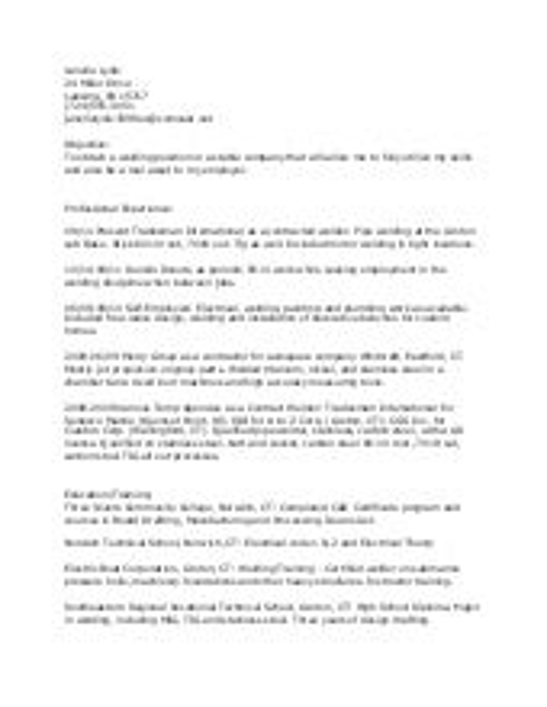 Welder Resume pipe welder resume examples resume samples file Robert Kerr Welder Resume