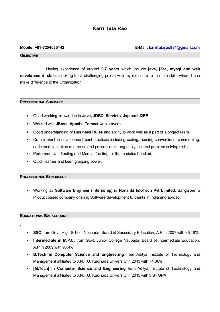 resume with 7 months internship experiance in java - Computer Science Resume