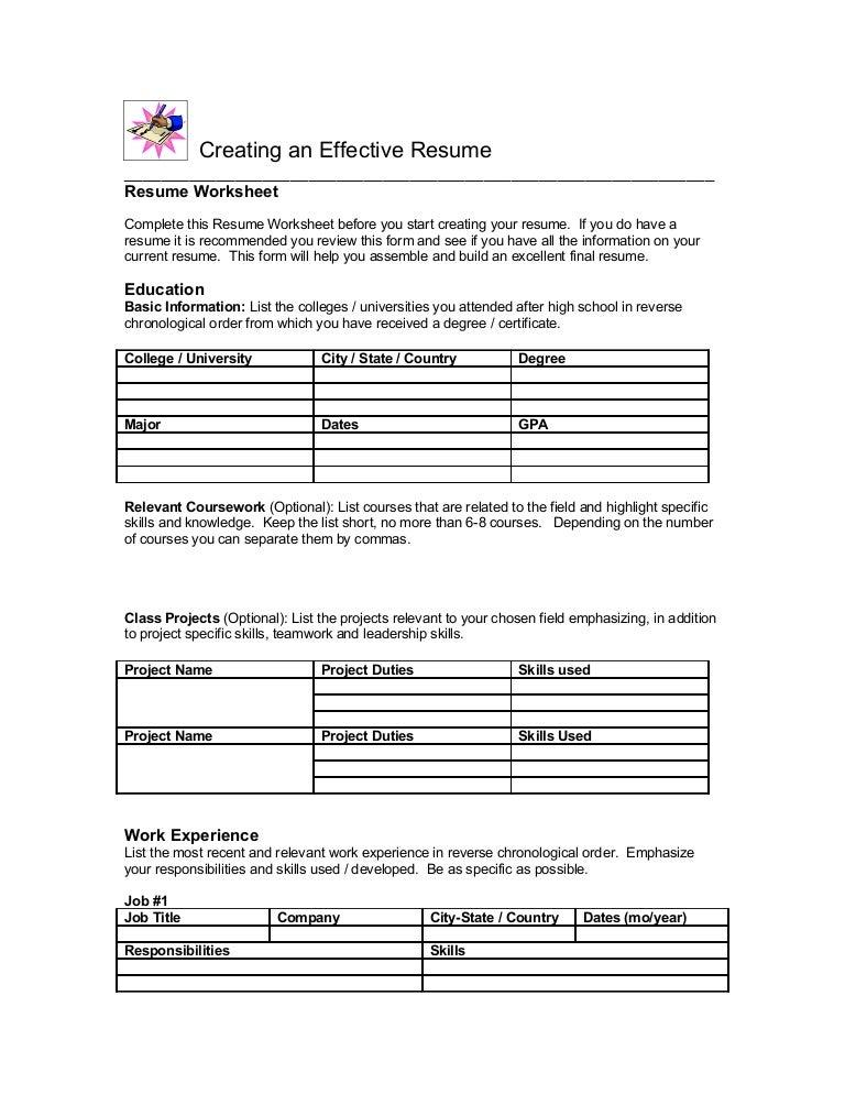 SlideShare  Resume Worksheet