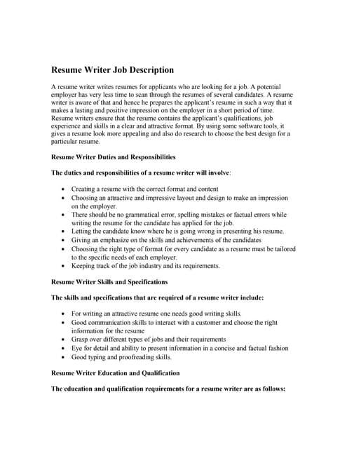 resume writer job description