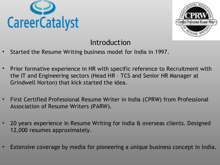 resume writing presentation placement - Resume Writing Certification India