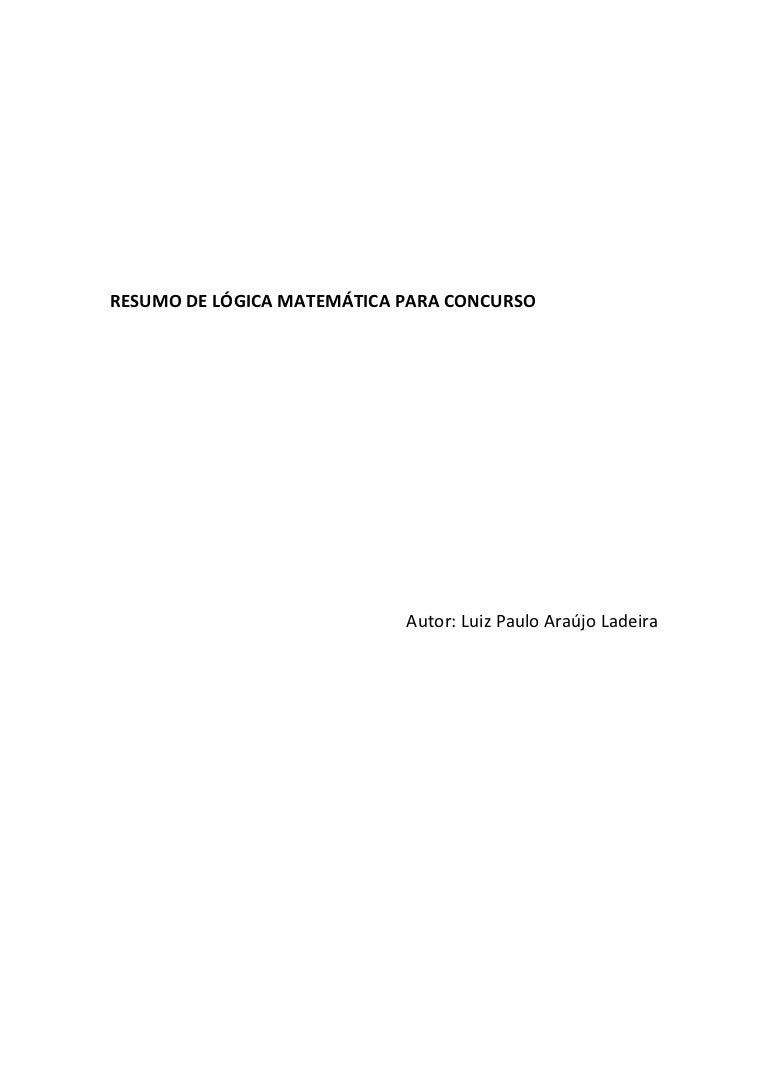 Resumo A Lógica Matemática Para Concursos