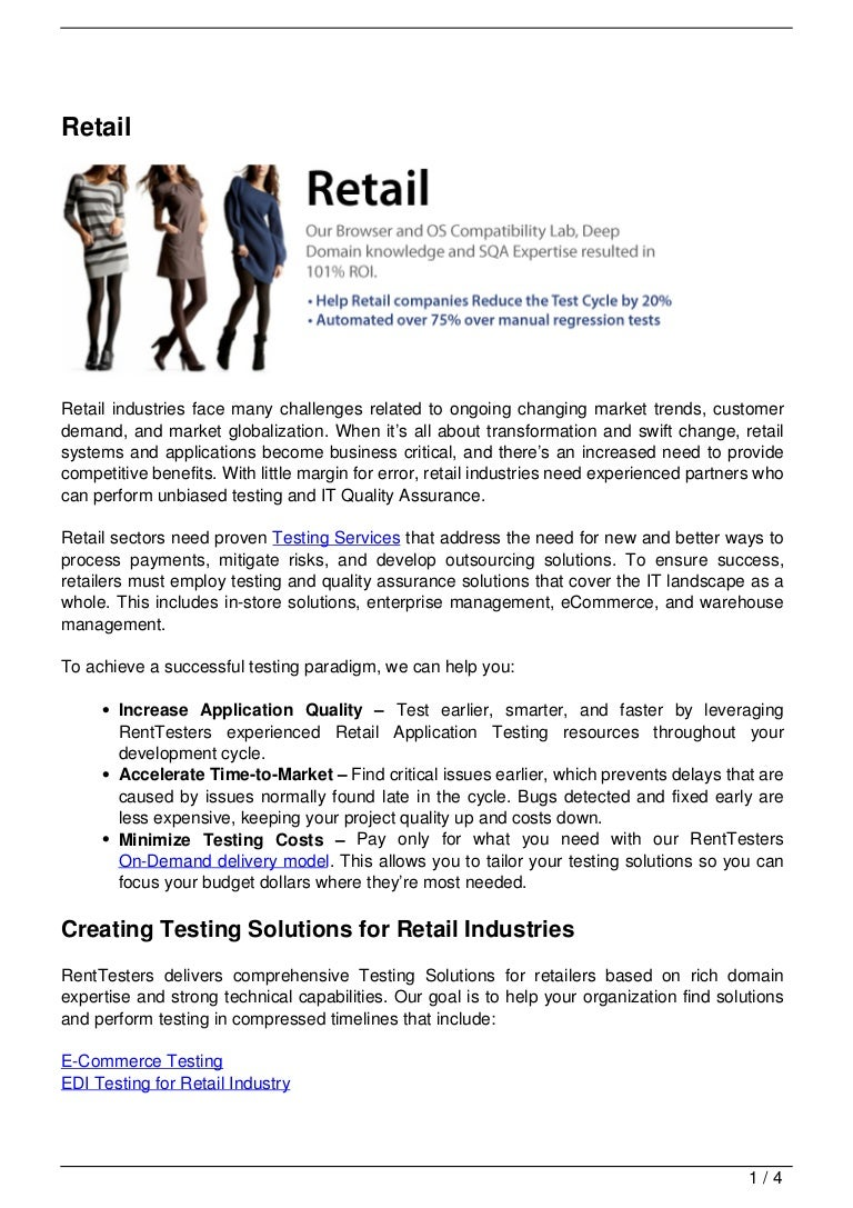 Retail Software Testing Services