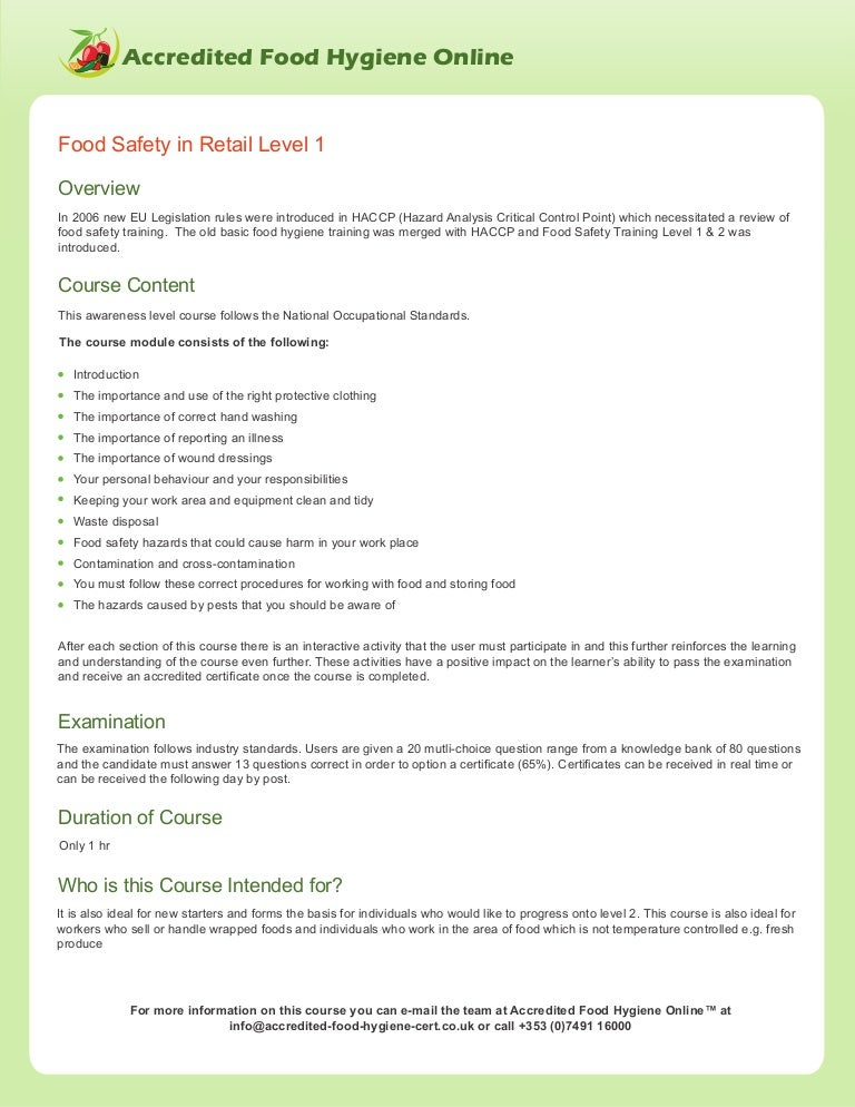 Food Safety In Retail For Level 1