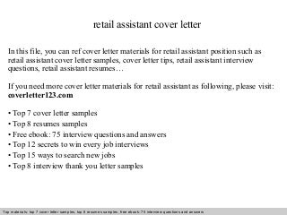 cover letter resume retail sales - Sample Cover Letter For Retail Assistant