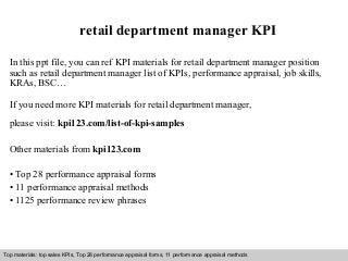 retail department manager kpi real estate property manager job description