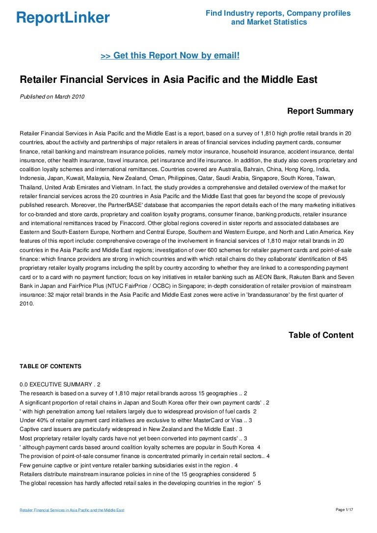 Retailer Financial Services in Asia Pacific and the Middle East