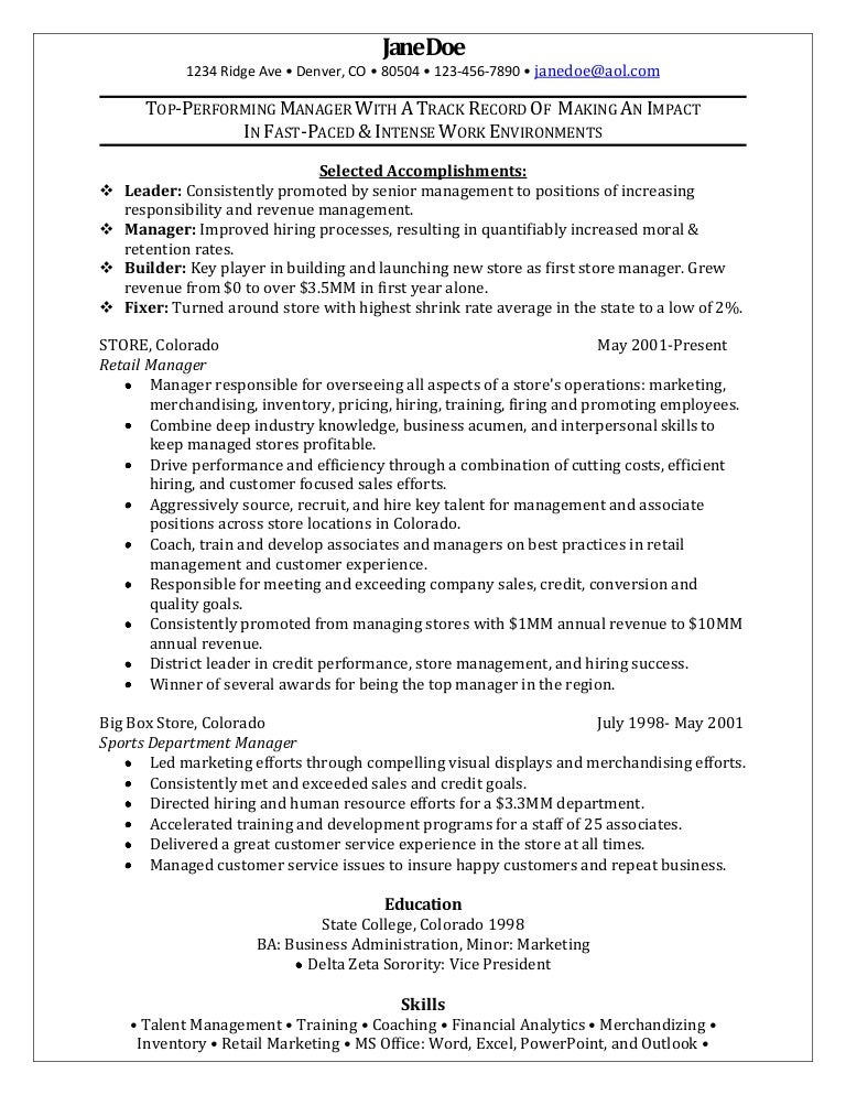 sample resume for assistant manager in retail - retail manager sample resume