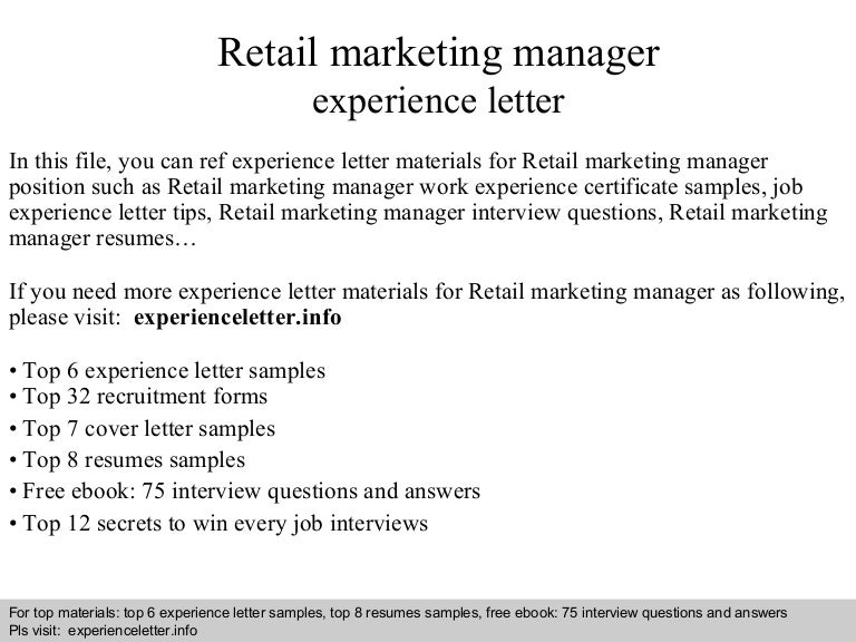 retailmarketingmanagerexperienceletter 140823105332 phpapp02 thumbnail 4jpgcb1408791239 - Marketing Manager Interview Questions And Answers