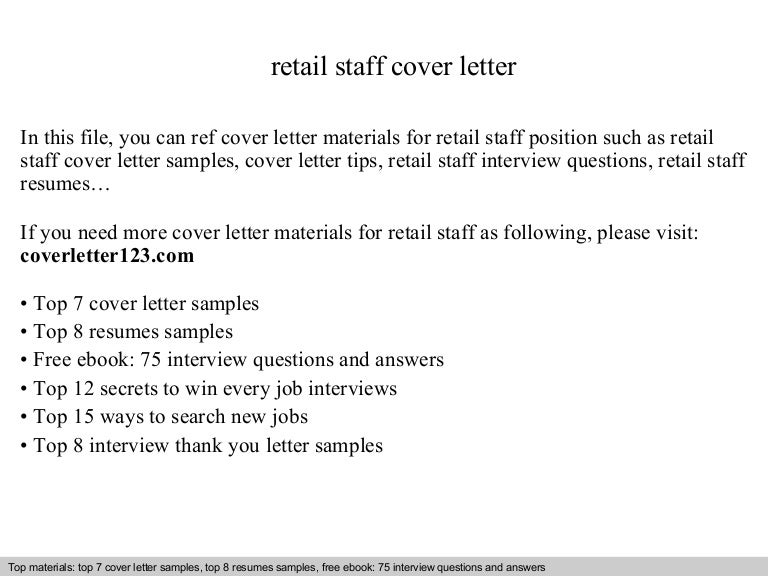 retail staff cover letter cover letter for a retail job
