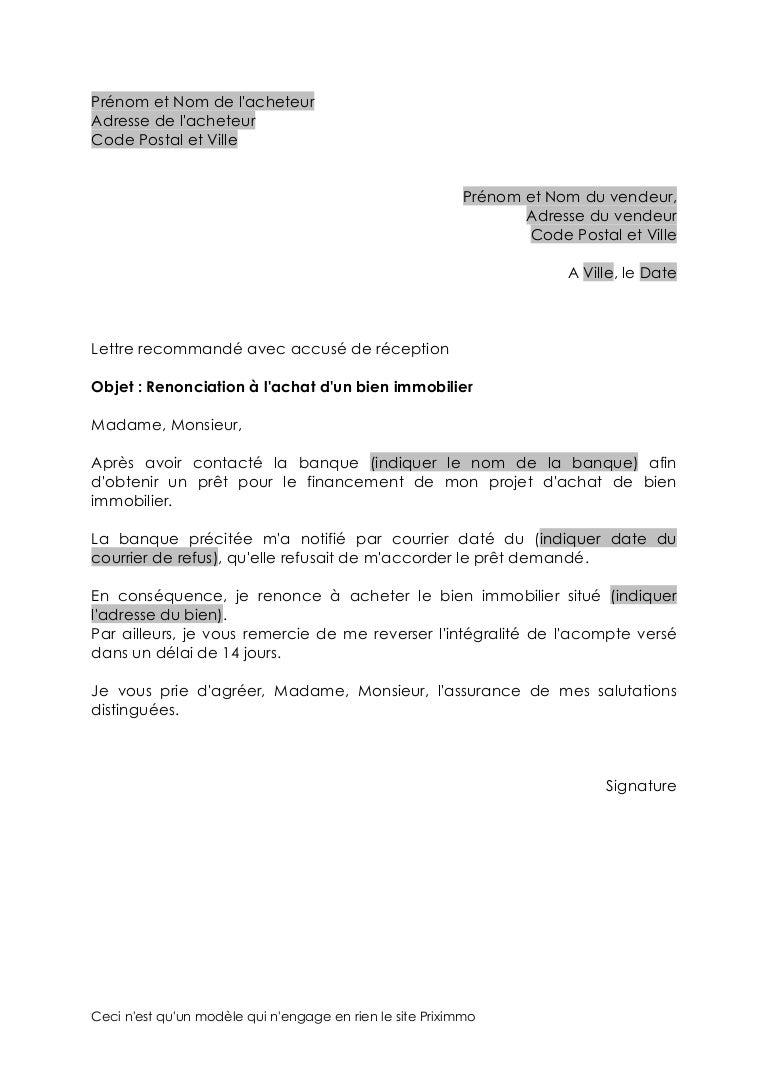 retractation refus pret courrier