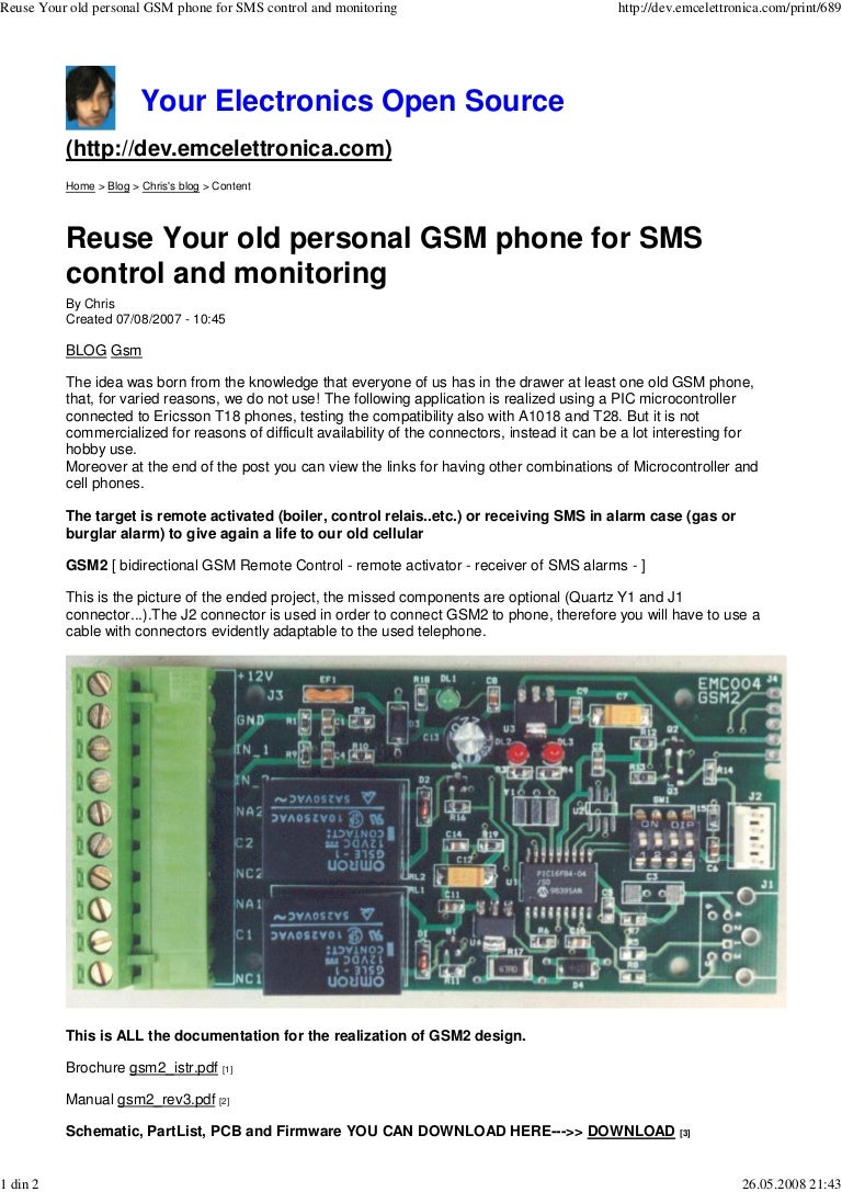 Reuse Your Old Personal Gsm Phone For Sms Control And