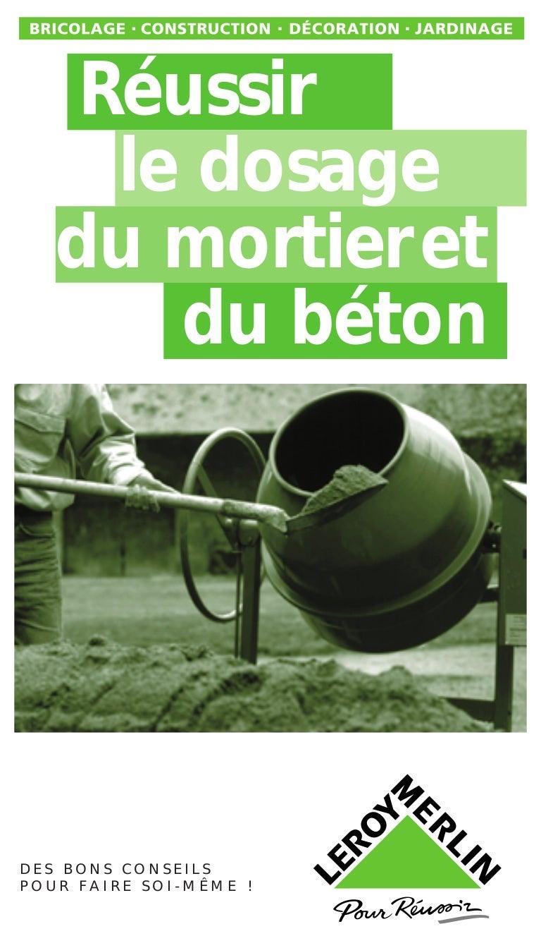 Dosage Beton Avec Melange Tout Pret se rapportant à reussir le dosage du mortier et du beton