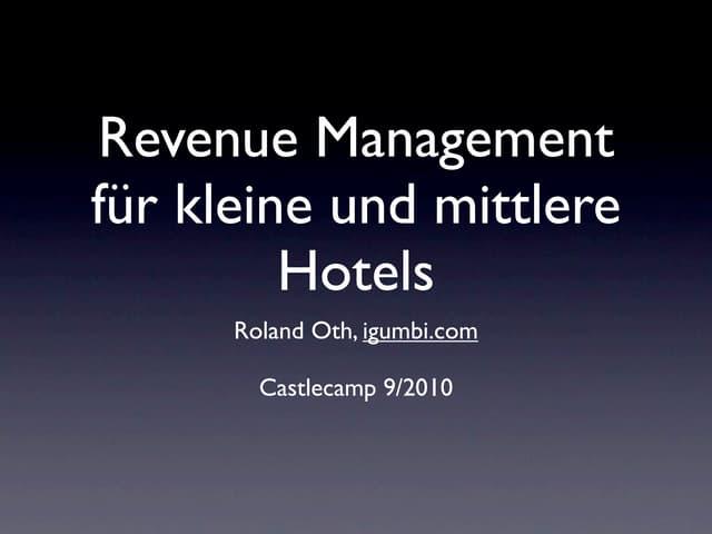 Revenue Management in kleinen und mittleren Hotels