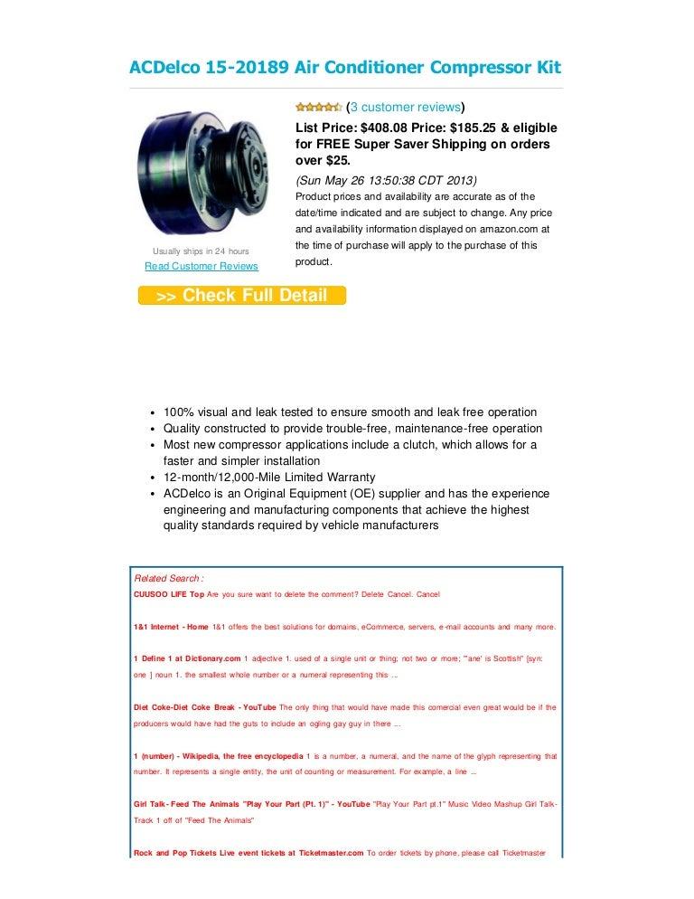 Review ac delco 15 20189 air conditioner compressor kit