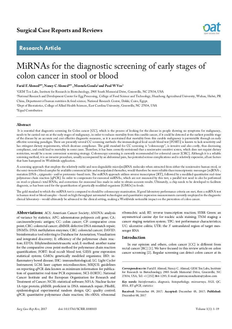 Mirnas For The Diagnostic Screening Of Early Stages Of Colon Cancer I