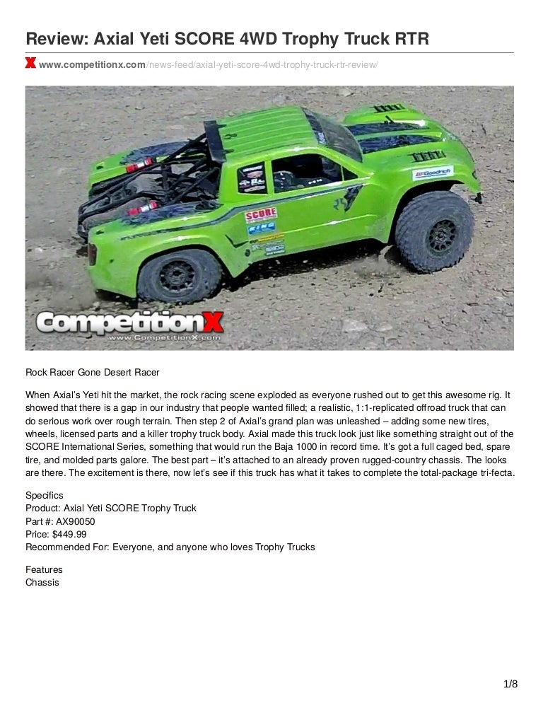 Review Axial Yeti Score 4wd Trophy Truck Rtr