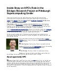 Inside Story on HPC's Role in the Bridges Research Project at Pittsburgh Supercomputing Center