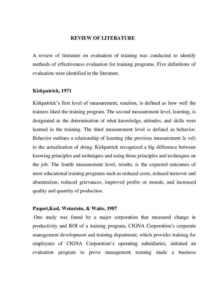 review of literature on training and development of employees