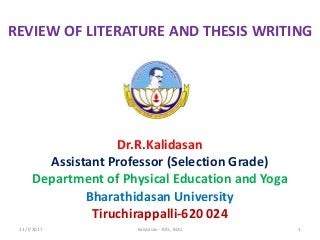 Review of literature and thesis writing