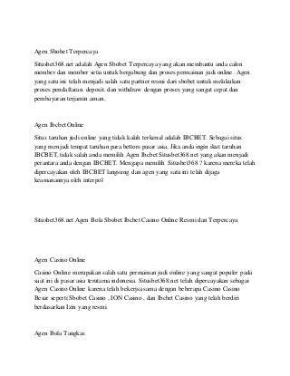Agen Sbobet Ibcbet Casino Online Resmi Terpercaya