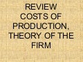 Review: Costs of Production, Theory of the Firm