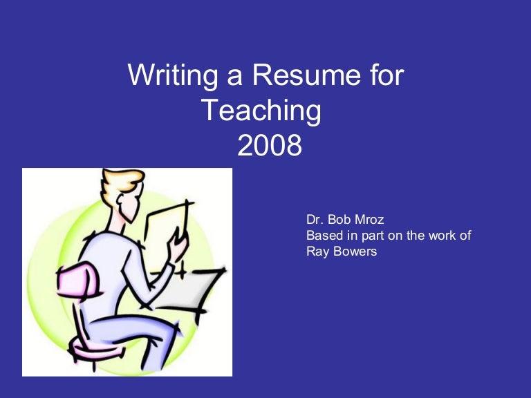 resume writing for teachers - How To Teach Resume Writing