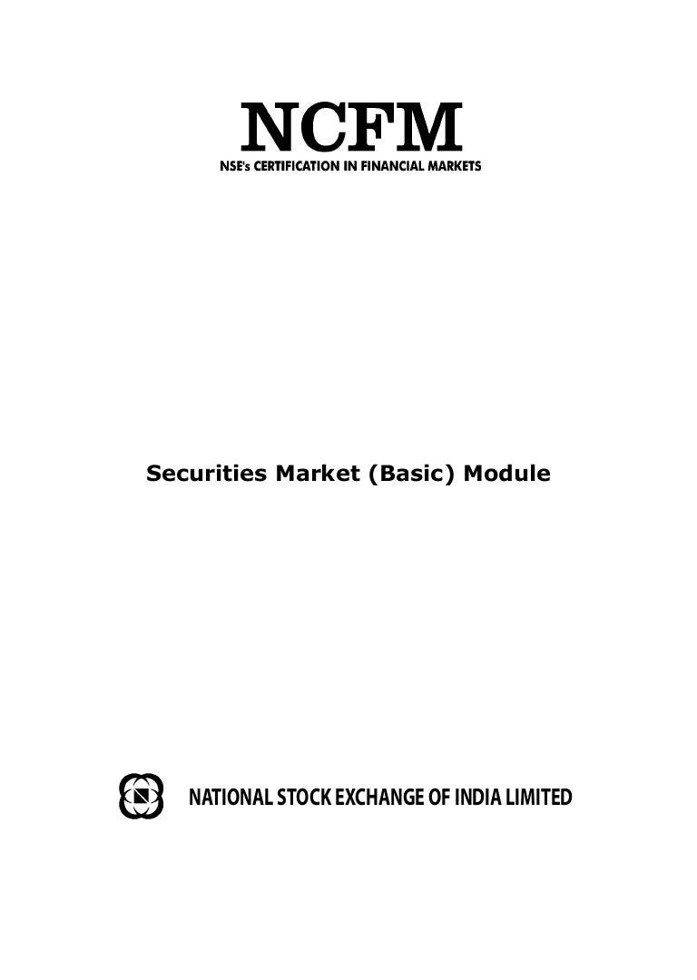 Revised Workbook On Ncfm Securities Market Module