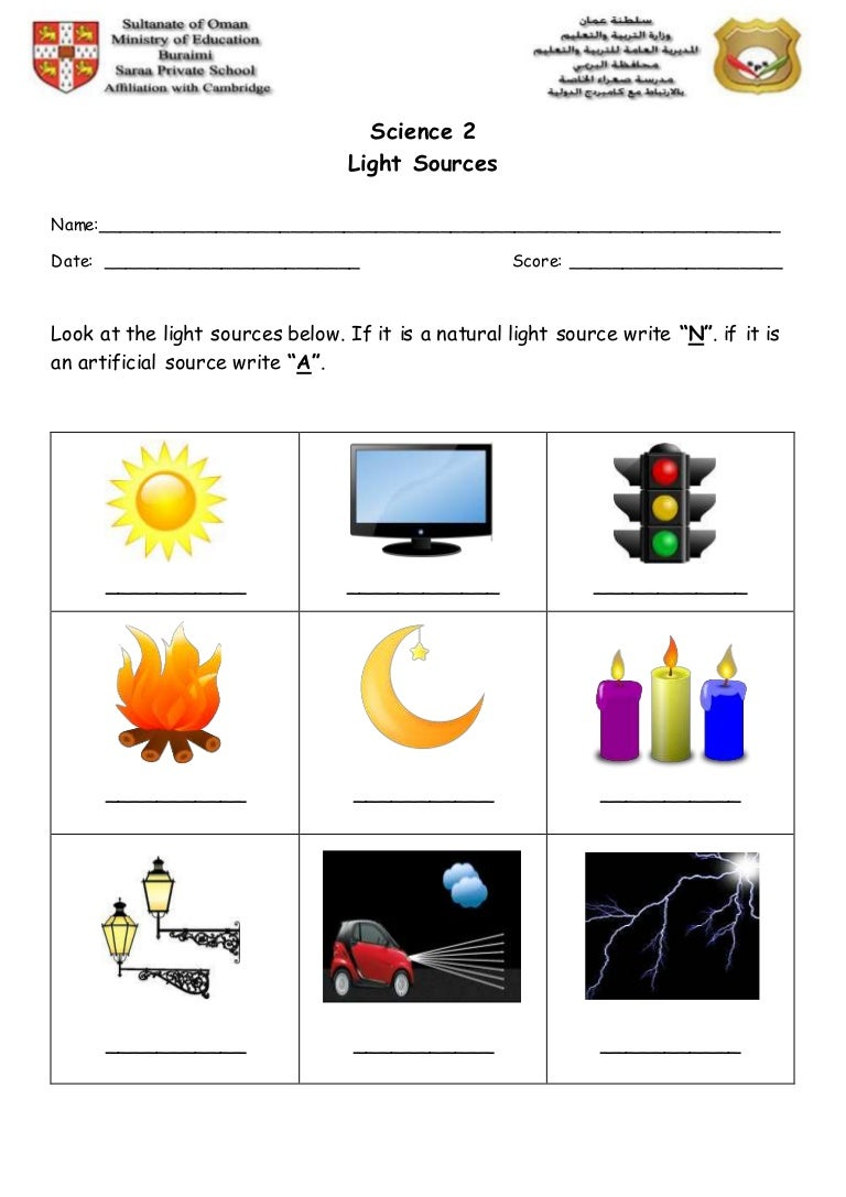 Light sources worksheet