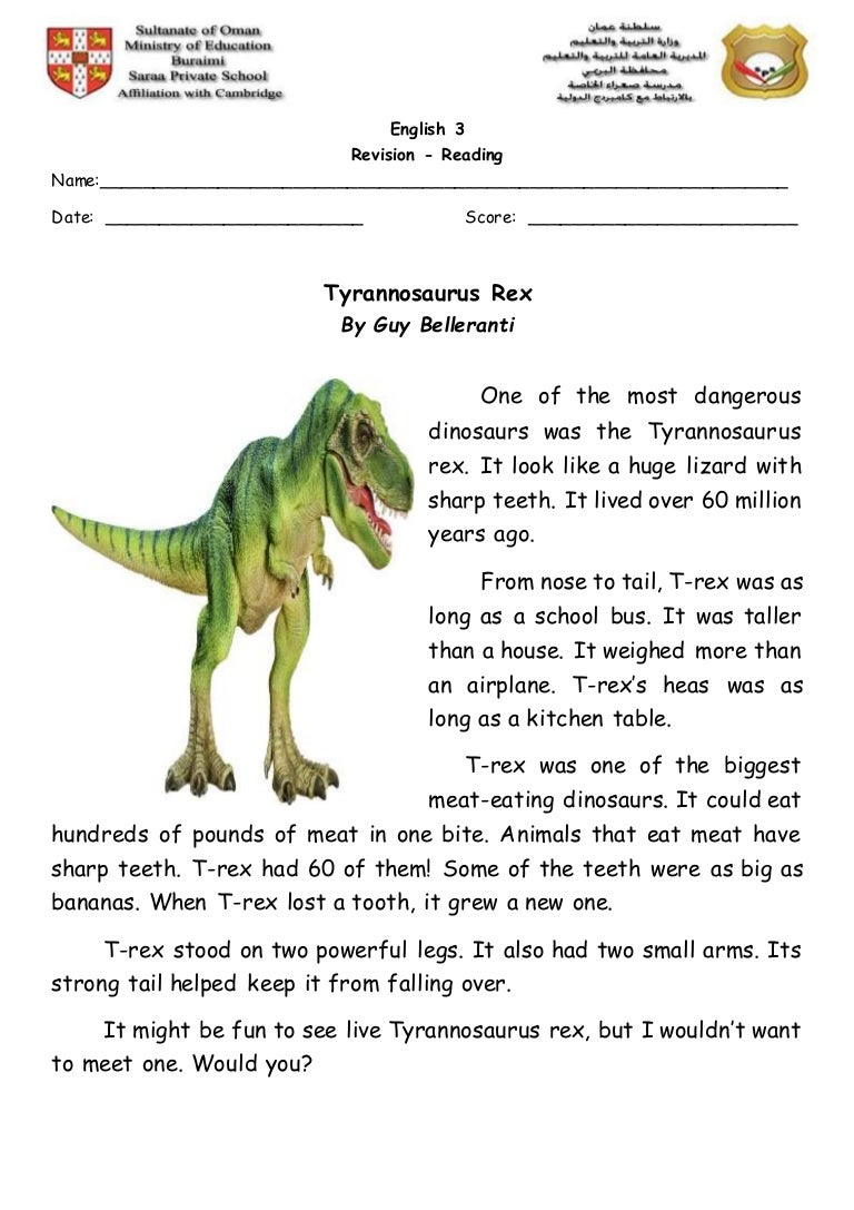 reading worksheet revision tyrannosaurus rex. Black Bedroom Furniture Sets. Home Design Ideas