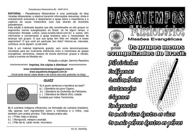 Revista Passatempos Missionários 2 - Os segmentos menos evangelizados do Brasil