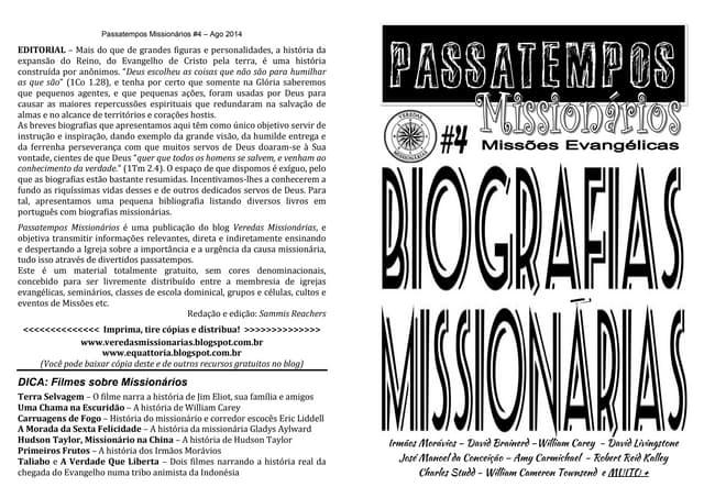 Revista Passatempos Missionários 4   - Biografias Missionárias