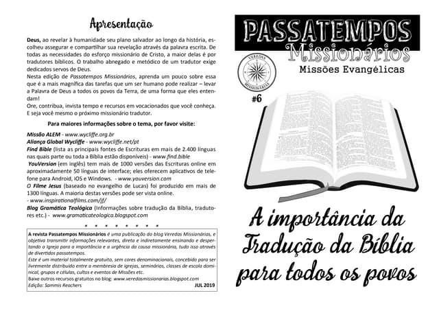 Revista Passatempos Missionários 6 - A Tradução da Bíblia para todos os Povos