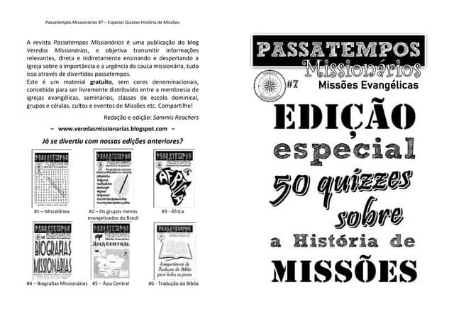 Revista Passatempos Evangélicos #7: 50 Quizzes sobre a História de Missões