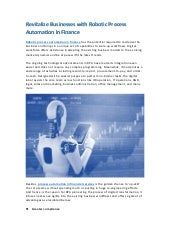 Revitalize Businesses with Robotic Process Automation in Finance