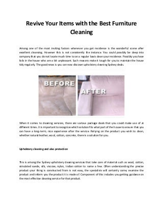 Revive your items with the best furniture cleaning