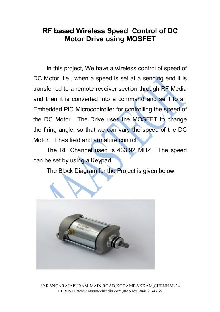 Ieee Based Electrical Projects 2012 Abstractspeed Control Of Dc Moto Motor Speed Circuit With Pic12f1822 Microcontroller